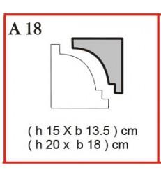 Cornice o Cassero profilo A18 in polistirolo da getto