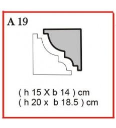 Cornice o Cassero profilo A19 in polistirolo da getto