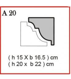 Cornice o Cassero profilo A20 in polistirolo da getto