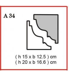 Cornice o Cassero profilo A34 in polistirolo da getto