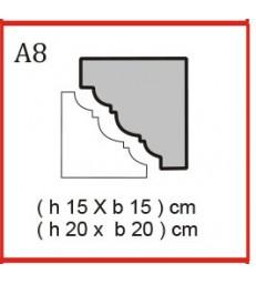 Cornice o Cassero profilo A8 in polistirolo da getto