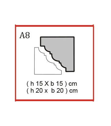 Cornice o Cassero tipo A8 in polistirolo da getto