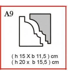 Cornice o Cassero profilo A9 in polistirolo da getto